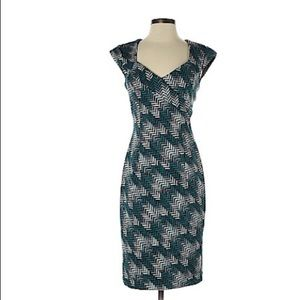 WHBM Teal patterned dress